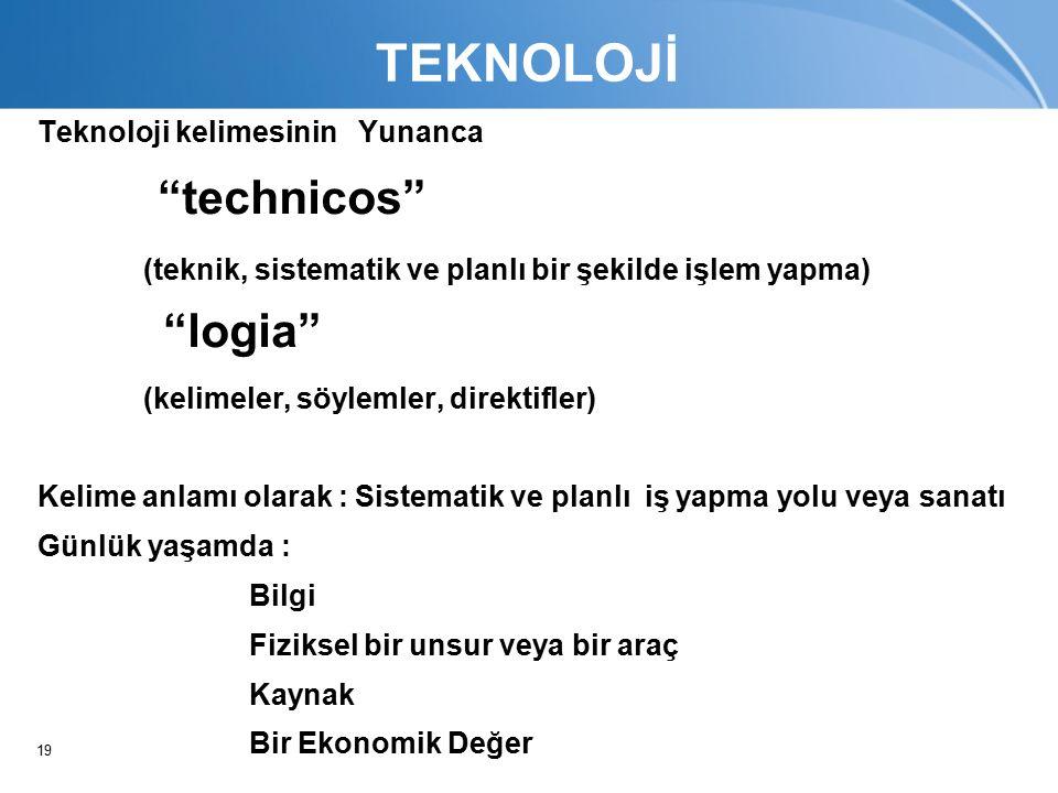 19 TEKNOLOJİ Teknoloji kelimesinin Yunanca technicos (teknik, sistematik ve planlı bir şekilde işlem yapma) logia (kelimeler, söylemler, direktifler) Kelime anlamı olarak : Sistematik ve planlı iş yapma yolu veya sanatı Günlük yaşamda : Bilgi Fiziksel bir unsur veya bir araç Kaynak Bir Ekonomik Değer