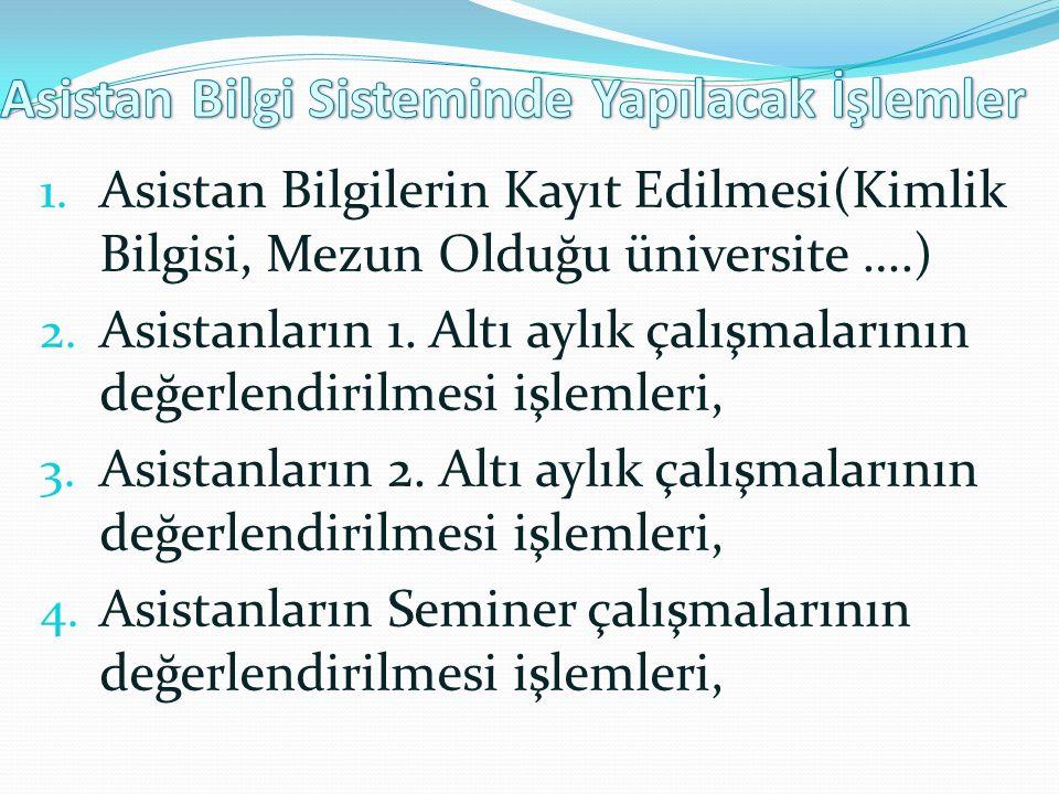 5.Asistanların Literatür çalışmalarının değerlendirilmesi işlemleri, 6.