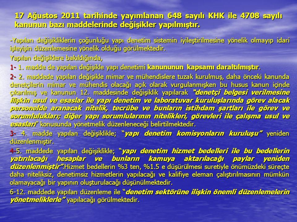 17 Ağustos 2011 tarihinde yayımlanan 648 sayılı KHK ile 4708 sayılı kanunun bazı maddelerinde değişikler yapılmıştır.