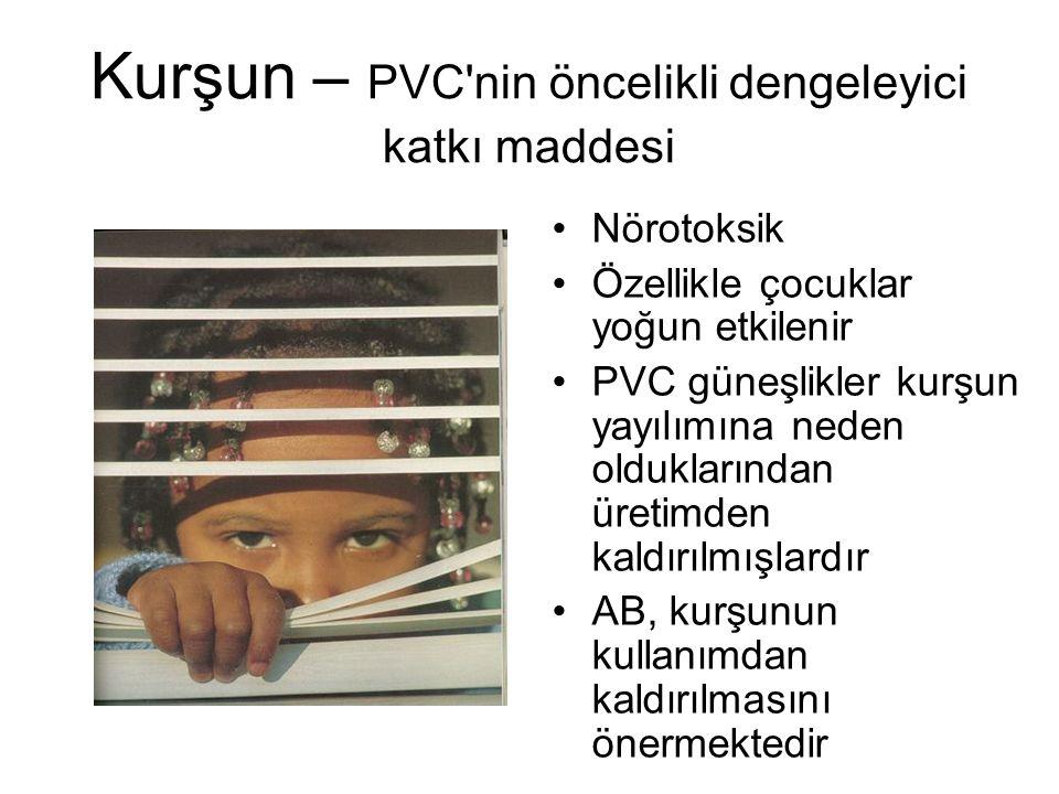 Kurşun – PVC nin öncelikli dengeleyici katkı maddesi Nörotoksik Özellikle çocuklar yoğun etkilenir PVC güneşlikler kurşun yayılımına neden olduklarından üretimden kaldırılmışlardır AB, kurşunun kullanımdan kaldırılmasını önermektedir