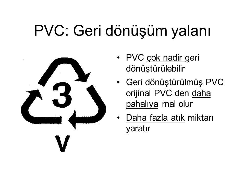 PVC: Geri dönüşüm yalanı PVC çok nadir geri dönüştürülebilir Geri dönüştürülmüş PVC orijinal PVC den daha pahalıya mal olur Daha fazla atık miktarı yaratır
