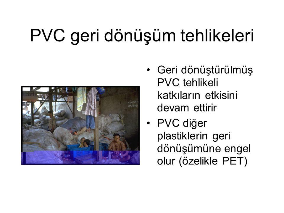 PVC geri dönüşüm tehlikeleri Geri dönüştürülmüş PVC tehlikeli katkıların etkisini devam ettirir PVC diğer plastiklerin geri dönüşümüne engel olur (özelikle PET)
