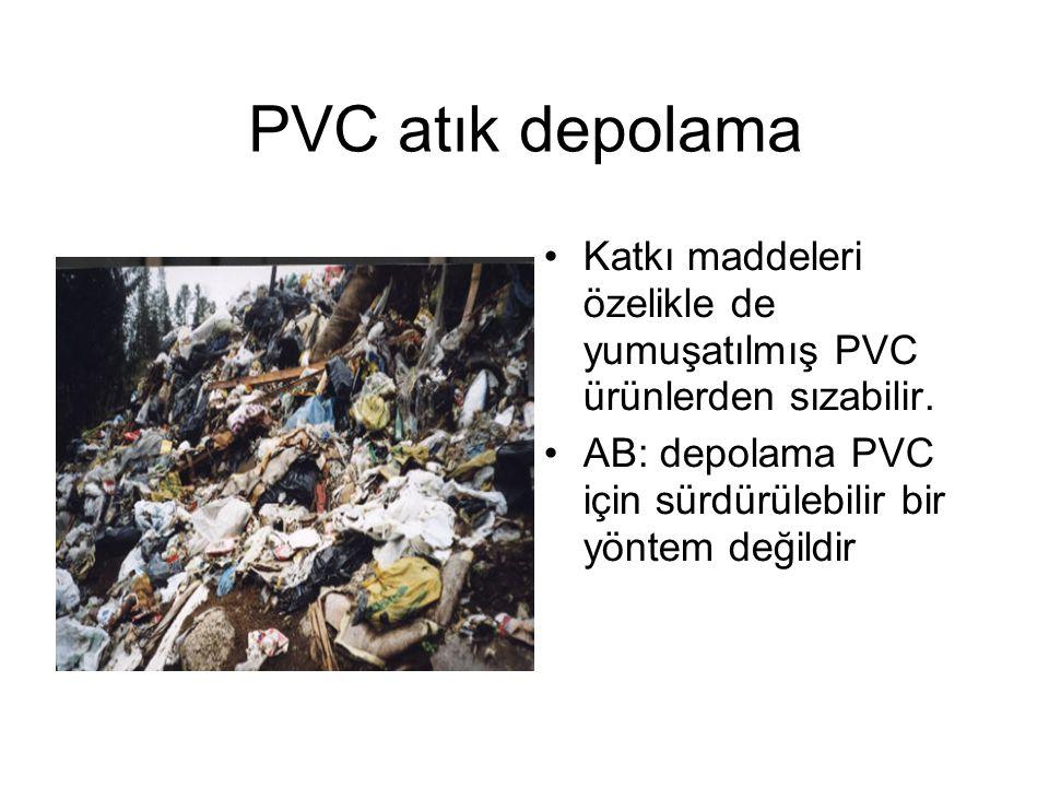 PVC atık depolama Katkı maddeleri özelikle de yumuşatılmış PVC ürünlerden sızabilir. AB: depolama PVC için sürdürülebilir bir yöntem değildir