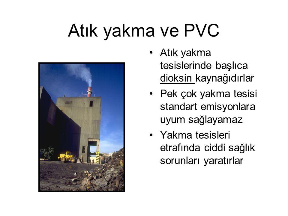 Atık yakma ve PVC Atık yakma tesislerinde başlıca dioksin kaynağıdırlar Pek çok yakma tesisi standart emisyonlara uyum sağlayamaz Yakma tesisleri etrafında ciddi sağlık sorunları yaratırlar