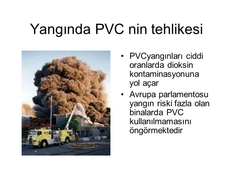 Yangında PVC nin tehlikesi PVCyangınları ciddi oranlarda dioksin kontaminasyonuna yol açar Avrupa parlamentosu yangın riski fazla olan binalarda PVC kullanılmamasını öngörmektedir