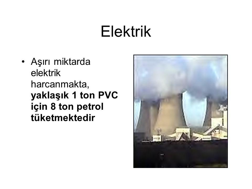 Elektrik Aşırı miktarda elektrik harcanmakta, yaklaşık 1 ton PVC için 8 ton petrol tüketmektedir
