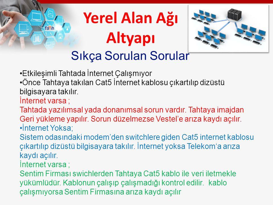 Yerel Alan Ağı Altyapı Etkileşimli Tahtada İnternet Çalışmıyor Önce Tahtaya takılan Cat5 İnternet kablosu çıkartılıp dizüstü bilgisayara takılır. İnte
