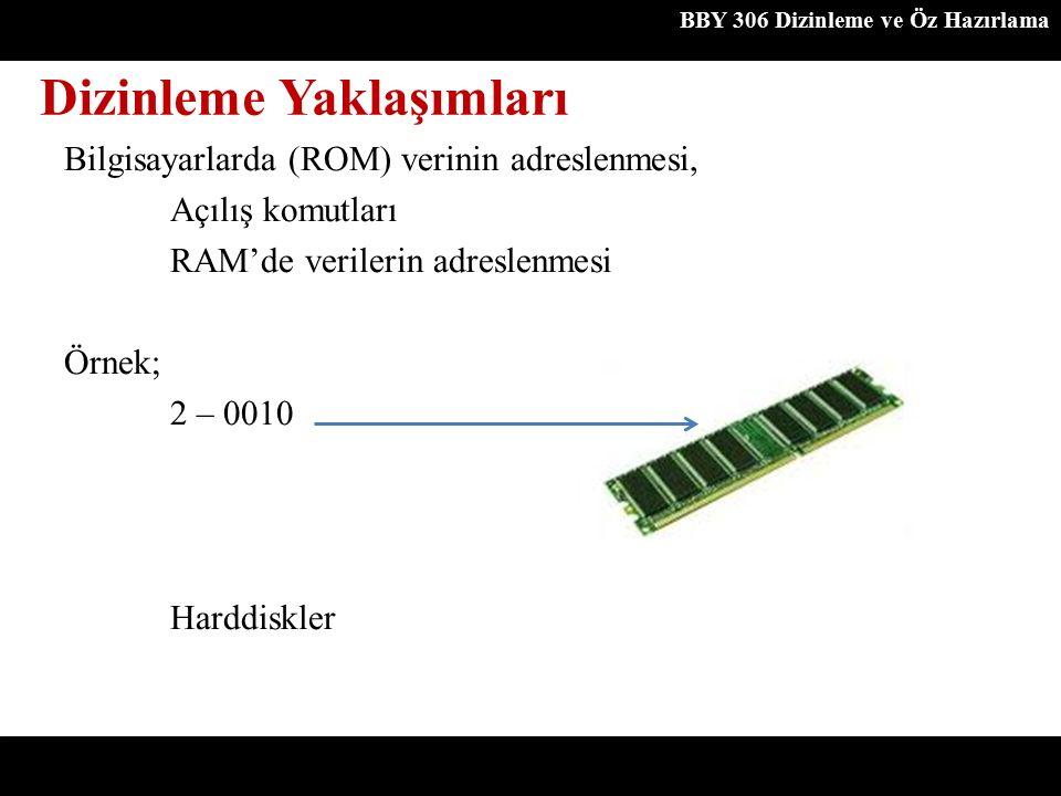 Dizinleme Yaklaşımları BBY 306 Dizinleme ve Öz Hazırlama Bilgisayarlarda (ROM) verinin adreslenmesi, Açılış komutları RAM'de verilerin adreslenmesi Ör
