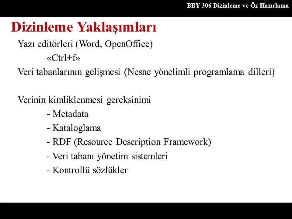 Dizinleme Yaklaşımları BBY 306 Dizinleme ve Öz Hazırlama Yazı editörleri (Word, OpenOffice) «Ctrl+f» Veri tabanlarının gelişmesi (Nesne yönelimli prog