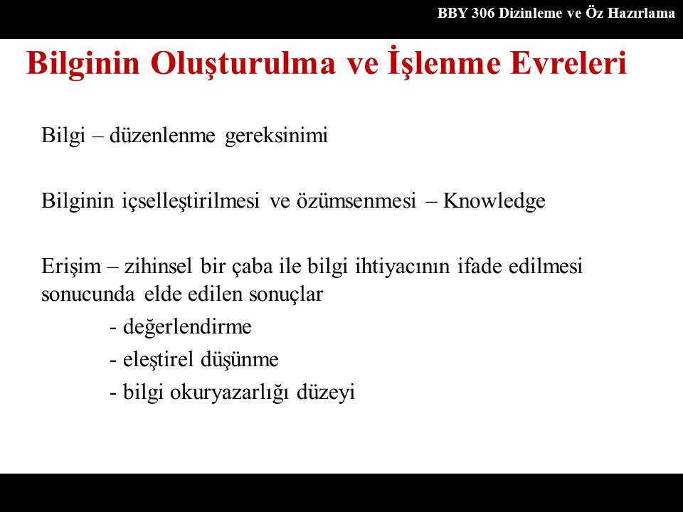 Bilgi – düzenlenme gereksinimi Bilginin içselleştirilmesi ve özümsenmesi – Knowledge Erişim – zihinsel bir çaba ile bilgi ihtiyacının ifade edilmesi s