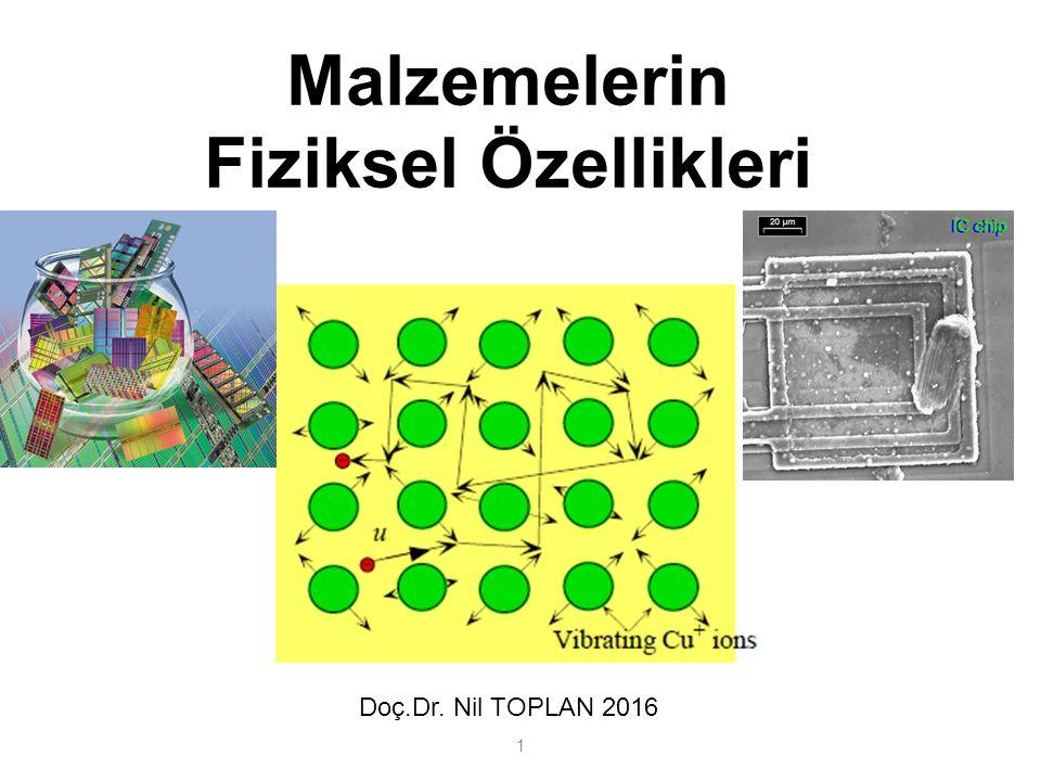 Malzemelerin Fiziksel Özellikleri 1 Doç.Dr. Nil TOPLAN 2016