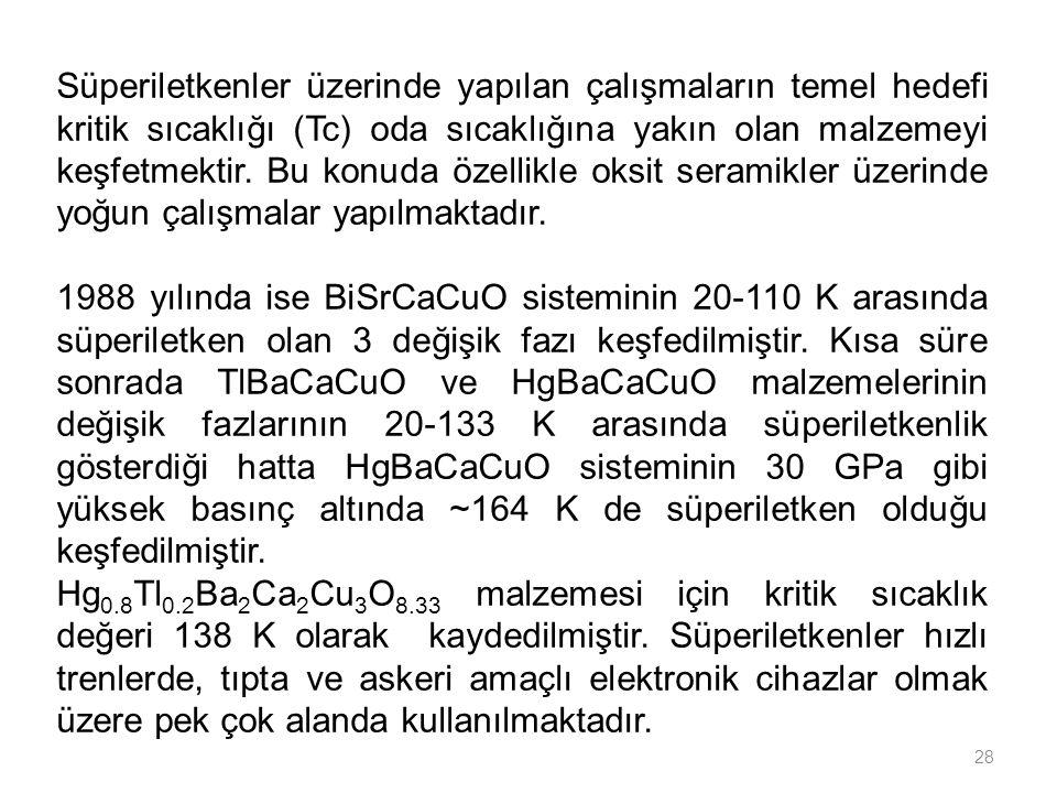 28 Süperiletkenler üzerinde yapılan çalışmaların temel hedefi kritik sıcaklığı (Tc) oda sıcaklığına yakın olan malzemeyi keşfetmektir. Bu konuda özell