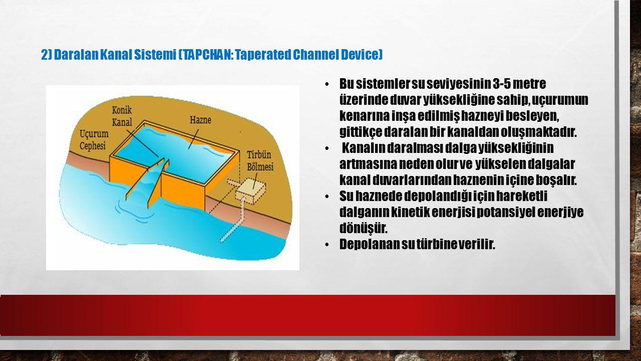 2) Daralan Kanal Sistemi (TAPCHAN: Taperated Channel Device) Bu sistemler su seviyesinin 3-5 metre üzerinde duvar yüksekliğine sahip, uçurumun kenarın