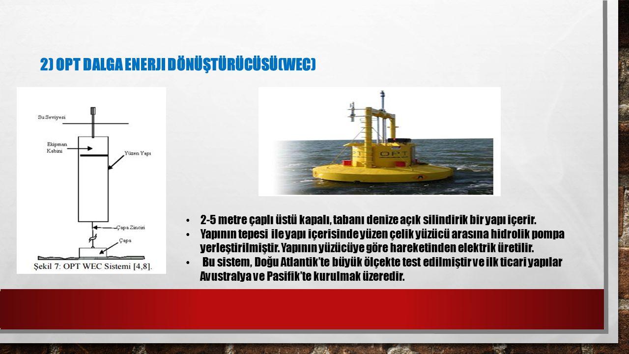 2) OPT DALGA ENERJI DÖNÜŞTÜRÜCÜSÜ(WEC) 2-5 metre çaplı üstü kapalı, tabanı denize açık silindirik bir yapı içerir. Yapının tepesi ile yapı içerisinde