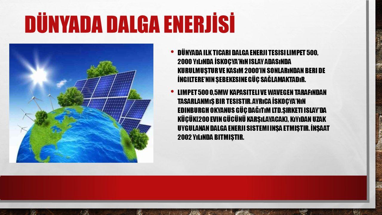 DÜNYADA DALGA ENERJİSİ DÜNYADA ILK TICARI DALGA ENERJI TESISI LIMPET 500, 2000 YıLıNDA İSKOÇYA'NıN ISLAY ADASıNDA KURULMUŞTUR VE KASıM 2000'IN SONLARı