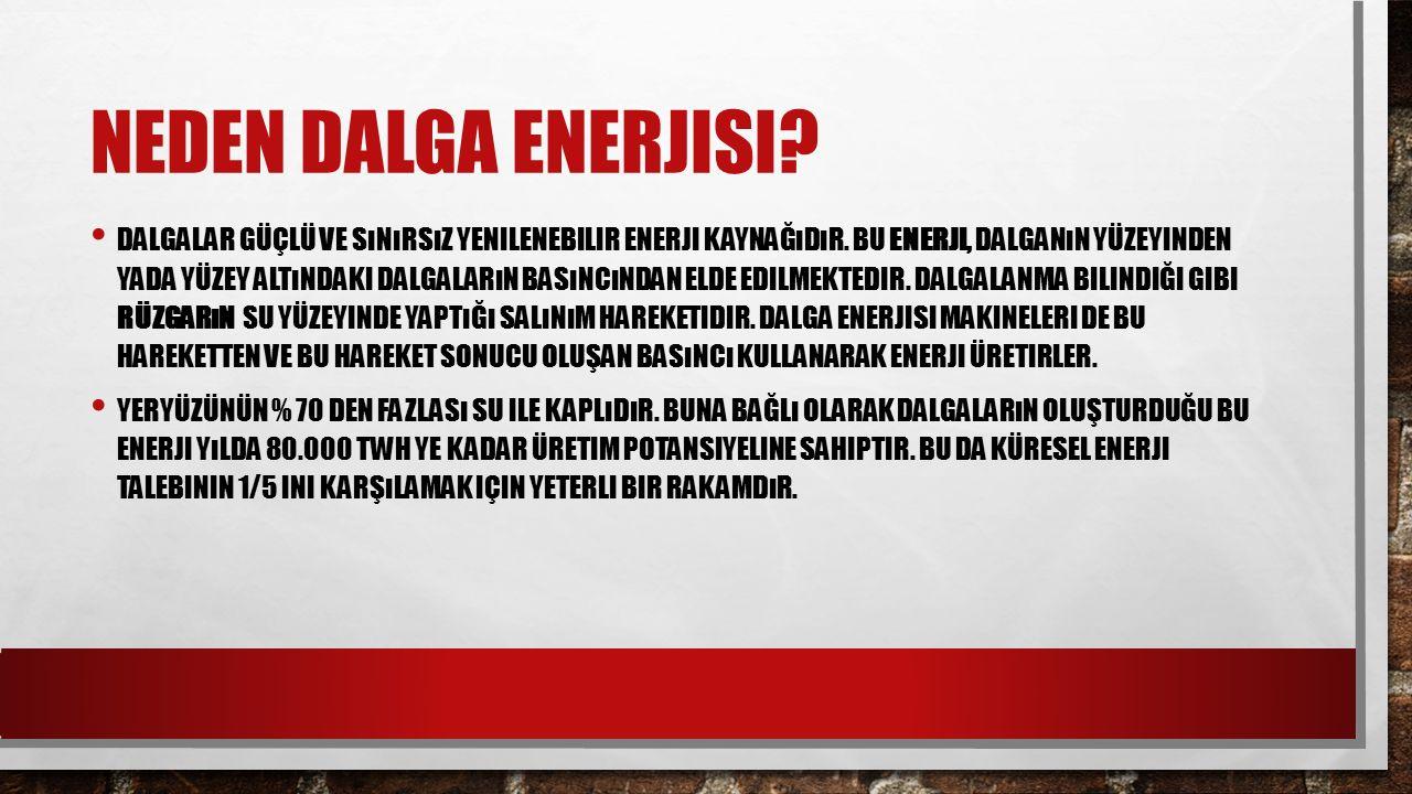 NEDEN DALGA ENERJISI? DALGALAR GÜÇLÜ VE SıNıRSıZ YENILENEBILIR ENERJI KAYNAĞıDıR. BU ENERJI, DALGANıN YÜZEYINDEN YADA YÜZEY ALTıNDAKI DALGALARıN BASıN