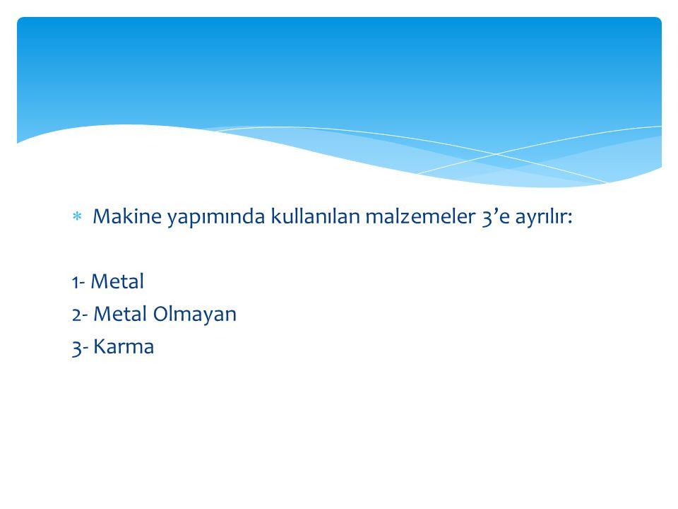  Metal malzemeler; demir esaslı ve demir olmayan diye ikiye ayrılır.
