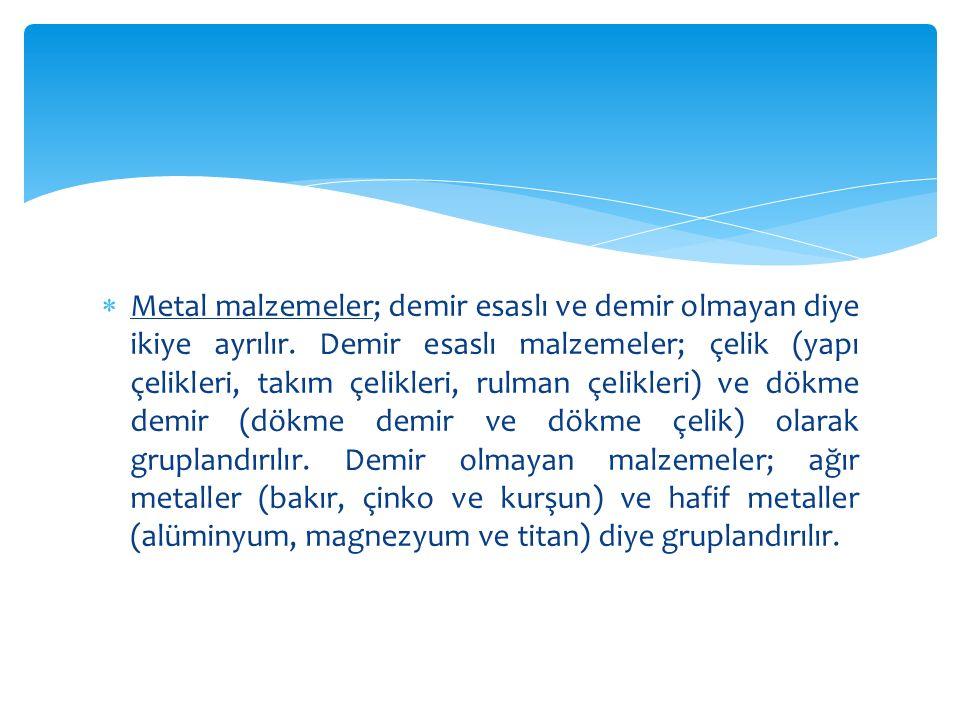  Metal olmayan malzemeler: Doğal (tahta, granit taşı, asbest) ve suni (plastikler, seramik, cam) olarak gruplandırılır.