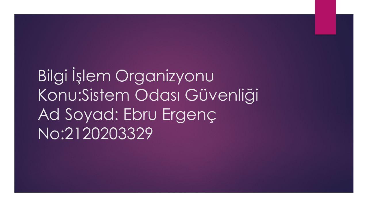 Bilgi İşlem Organizyonu Konu:Sistem Odası Güvenliği Ad Soyad: Ebru Ergenç No:2120203329