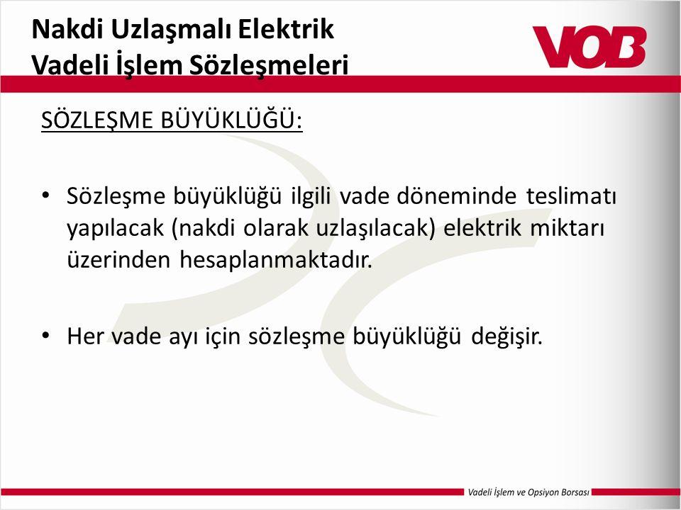 Nakdi Uzlaşmalı Elektrik Vadeli İşlem Sözleşmeleri SÖZLEŞME BÜYÜKLÜĞÜ: Sözleşme büyüklüğü ilgili vade döneminde teslimatı yapılacak (nakdi olarak uzlaşılacak) elektrik miktarı üzerinden hesaplanmaktadır.