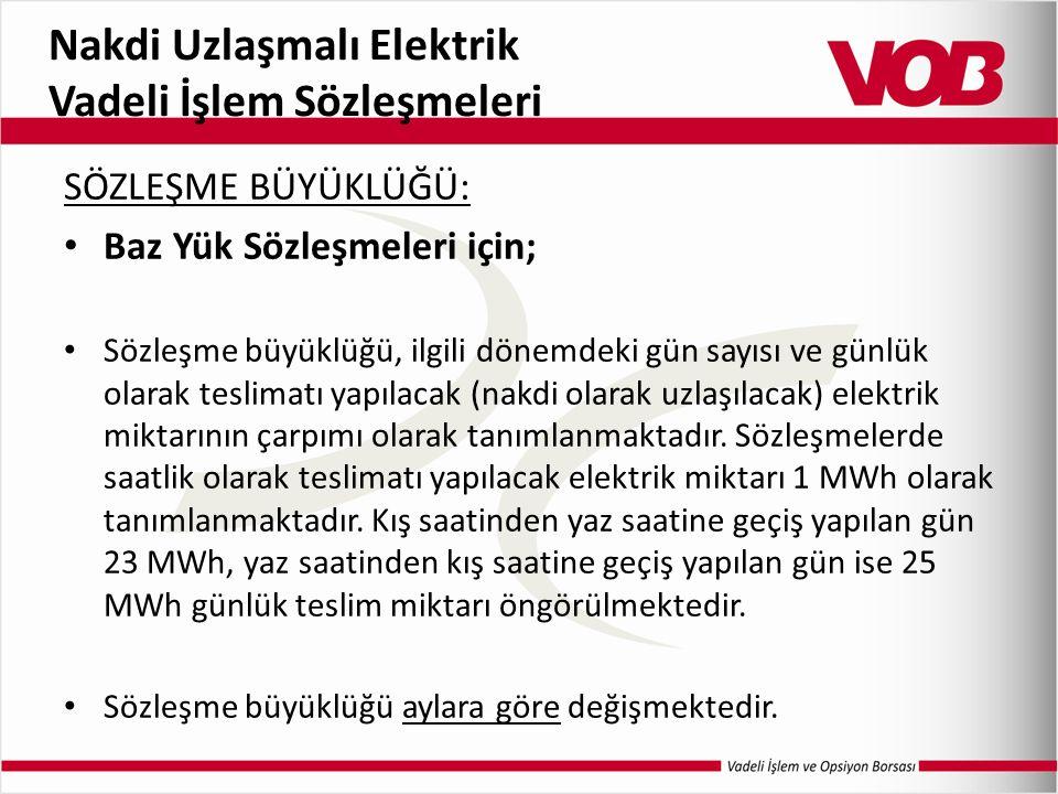Nakdi Uzlaşmalı Elektrik Vadeli İşlem Sözleşmeleri SÖZLEŞME BÜYÜKLÜĞÜ: Baz Yük Sözleşmeleri için; Sözleşme büyüklüğü, ilgili dönemdeki gün sayısı ve günlük olarak teslimatı yapılacak (nakdi olarak uzlaşılacak) elektrik miktarının çarpımı olarak tanımlanmaktadır.