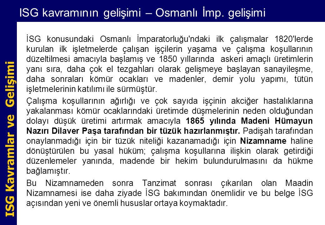 ISG Kavramlar ve Gelişimi ISG kavramının gelişimi – Osmanlı İmp. gelişimi İSG konusundaki Osmanlı İmparatorluğu'ndaki ilk çalışmalar 1820'lerde kurula