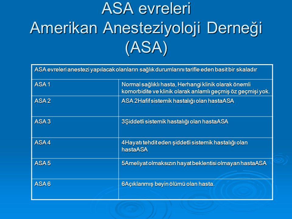 ASA evreleri Amerikan Anesteziyoloji Derneği (ASA) ASA evreleri anestezi yapılacak olanların sağlık durumlarını tarifle eden basit bir skaladır ASA 1 Normal sağlıklı hasta, Herhangi klinik olarak önemli komorbidite ve klinik olarak anlamlı geçmiş öz geçmişi yok.