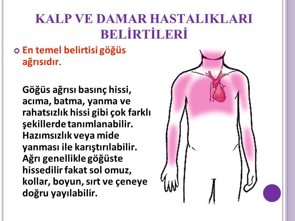 KALP VE DAMAR HASTALIKLARI BELİRTİLERİ En temel belirtisi göğüs ağrısıdır.