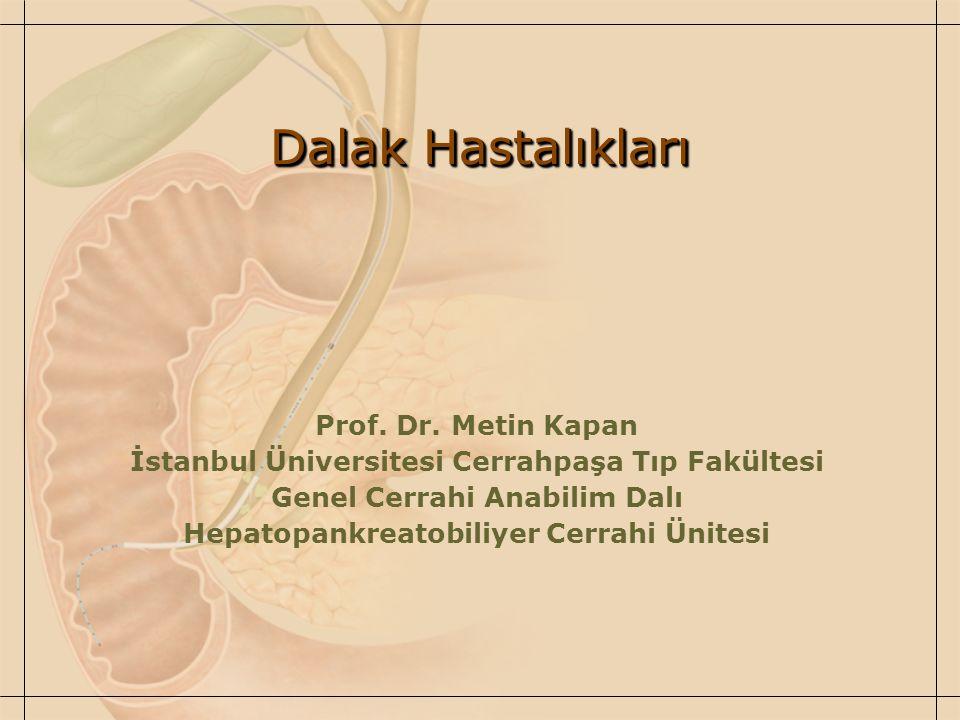 Dalak Hastalıkları Prof. Dr. Metin Kapan İstanbul Üniversitesi Cerrahpaşa Tıp Fakültesi Genel Cerrahi Anabilim Dalı Hepatopankreatobiliyer Cerrahi Üni