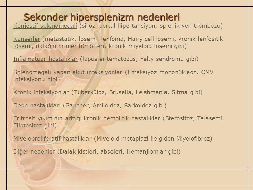 Sekonder hipersplenizm nedenleri Konjestif splenomegali (siroz, portal hipertansiyon, splenik ven trombozu) Kanserler (metastatik, lösemi, lenfoma, Ha