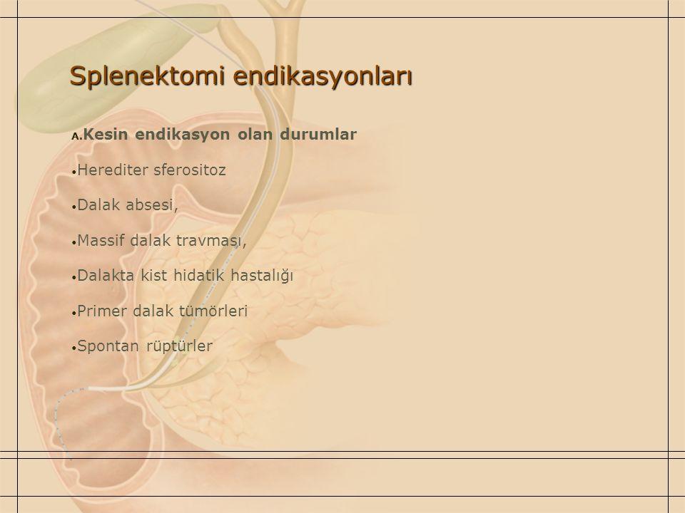 Splenektomi endikasyonları A. Kesin endikasyon olan durumlar Herediter sferositoz Dalak absesi, Massif dalak travması, Dalakta kist hidatik hastalığı