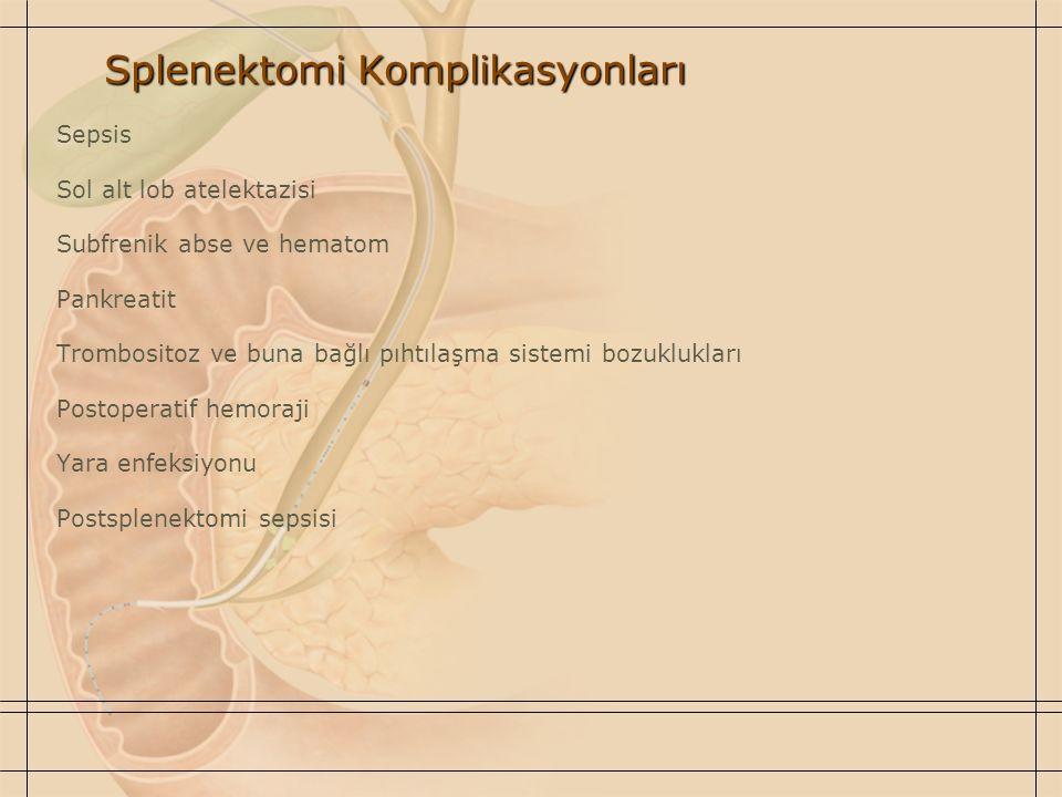 Splenektomi Komplikasyonları Sepsis Sol alt lob atelektazisi Subfrenik abse ve hematom Pankreatit Trombositoz ve buna bağlı pıhtılaşma sistemi bozuklu