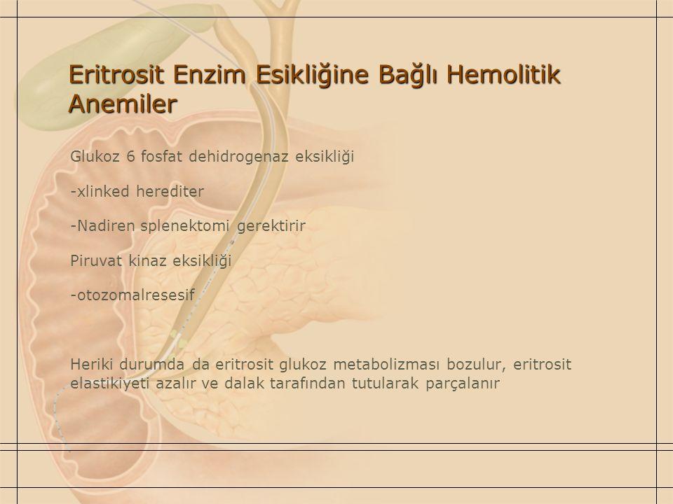 Eritrosit Enzim Esikliğine Bağlı Hemolitik Anemiler Glukoz 6 fosfat dehidrogenaz eksikliği -xlinked herediter -Nadiren splenektomi gerektirir Piruvat