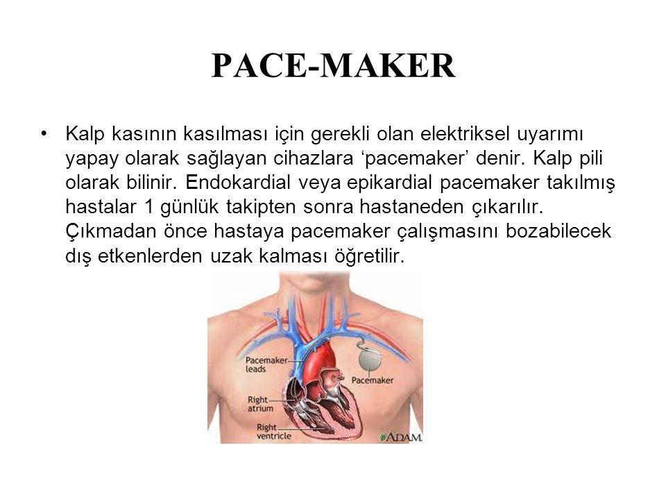 PACE-MAKER Kalp kasının kasılması için gerekli olan elektriksel uyarımı yapay olarak sağlayan cihazlara 'pacemaker' denir. Kalp pili olarak bilinir. E