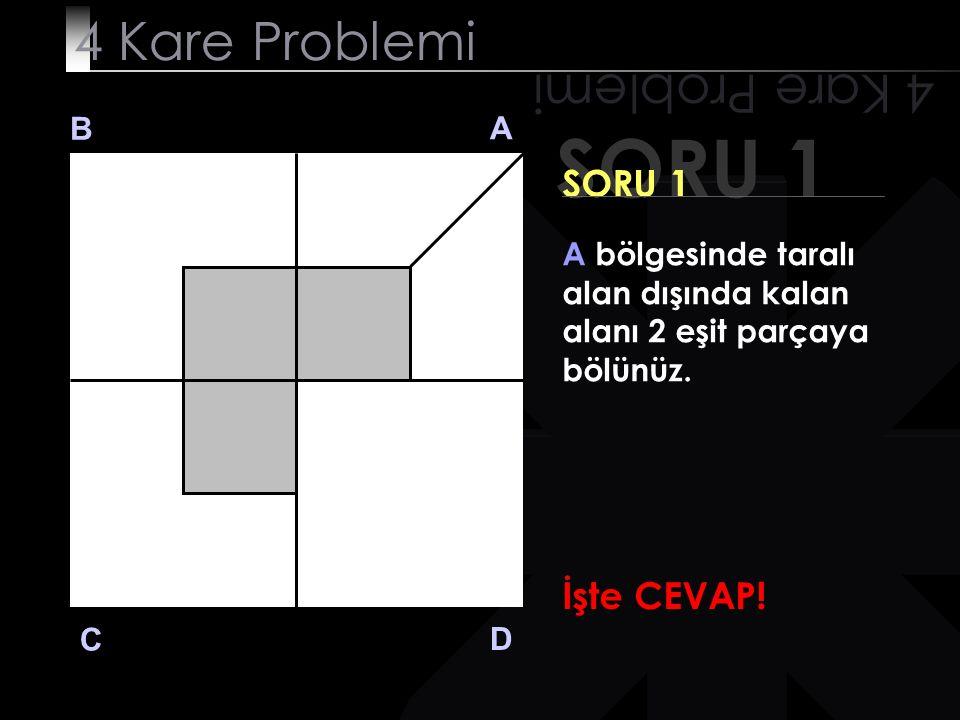 SORU 1 4 Kare Problemi B A D C SORU 1 A bölgesinde taralı alan dışında kalan alanı 2 eşit parçaya bölünüz. İşte CEVAP!
