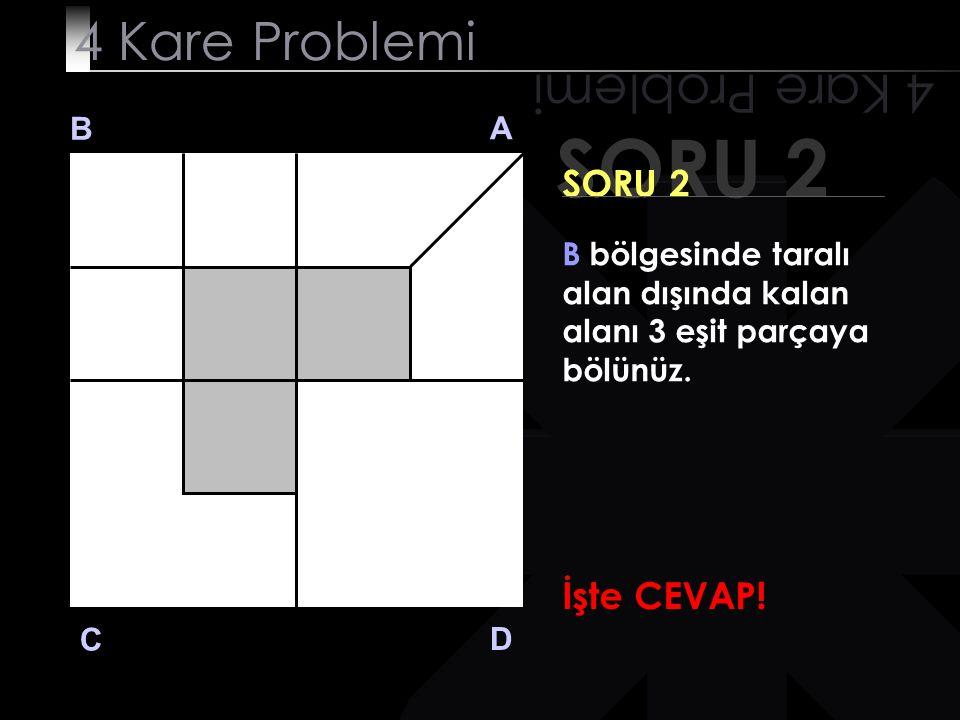 SORU 2 4 Kare Problemi B A D C SORU 2 B bölgesinde taralı alan dışında kalan alanı 3 eşit parçaya bölünüz. İşte CEVAP!