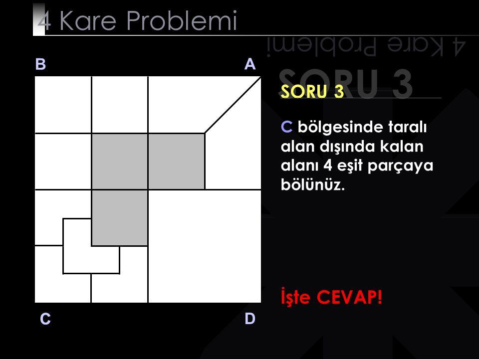 SORU 3 4 Kare Problemi B A D C SORU 3 C bölgesinde taralı alan dışında kalan alanı 4 eşit parçaya bölünüz. İşte CEVAP! C
