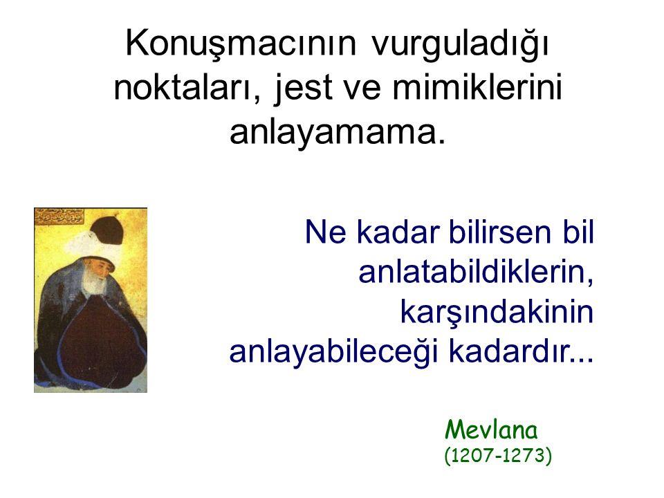 Ne kadar bilirsen bil anlatabildiklerin, karşındakinin anlayabileceği kadardır... Mevlana (1207-1273) Konuşmacının vurguladığı noktaları, jest ve mimi