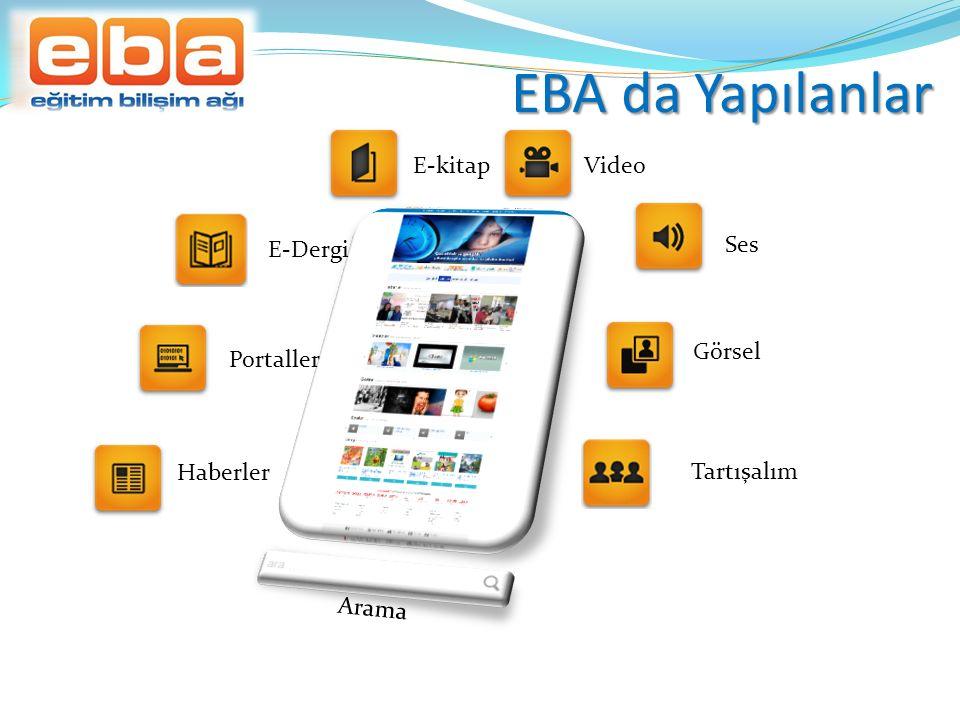 EBA da Yapılanlar Haberler Portaller E-kitapVideo Ses Görsel Tartışalım E-Dergi Arama