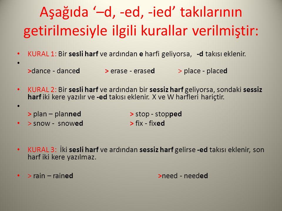 Aşağıda '–d, -ed, -ied' takılarının getirilmesiyle ilgili kurallar verilmiştir: KURAL 1: Bir sesli harf ve ardından e harfi geliyorsa, -d takısı eklen