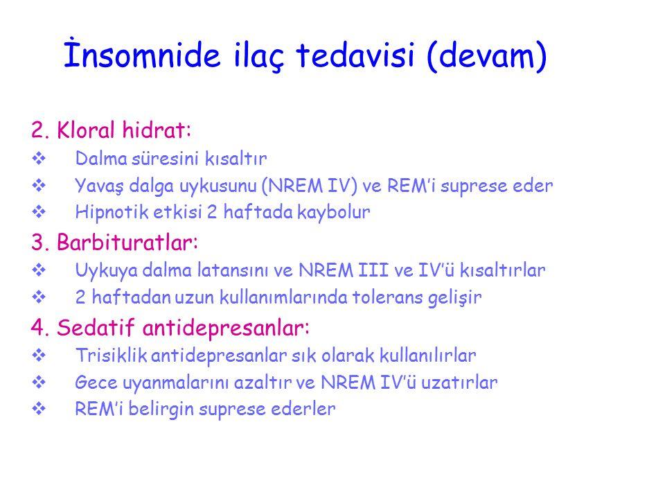 İnsomnide ilaç tedavisi (devam) 2. Kloral hidrat:  Dalma süresini kısaltır  Yavaş dalga uykusunu (NREM IV) ve REM'i suprese eder  Hipnotik etkisi 2