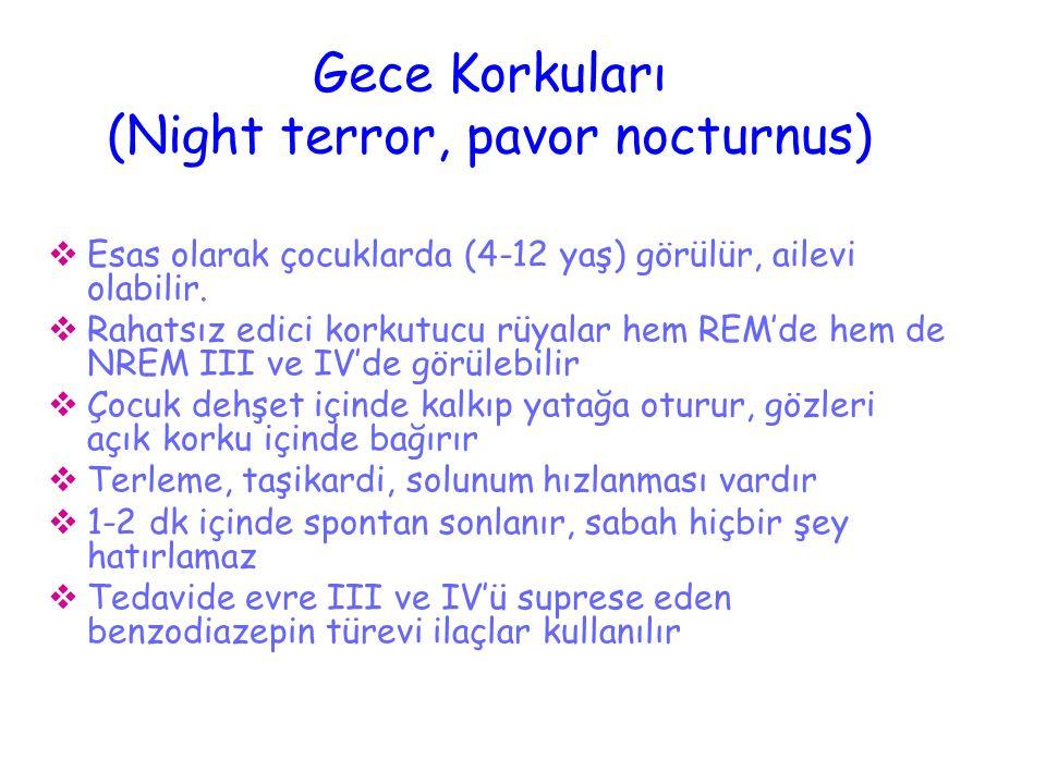Gece Korkuları (Night terror, pavor nocturnus)  Esas olarak çocuklarda (4-12 yaş) görülür, ailevi olabilir.  Rahatsız edici korkutucu rüyalar hem RE