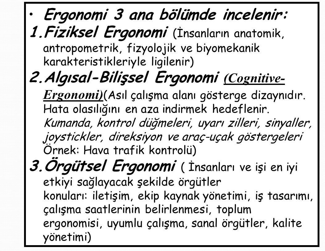 Ergonomi 3 ana bölümde incelenir: 1.Fiziksel Ergonomi (İnsanların anatomik, antropometrik, fizyolojik ve biyomekanik karakteristikleriyle ligilenir) 2.Algısal-Bilişsel Ergonomi (Cognitive- Ergonomi) (Asıl çalışma alanı gösterge dizaynıdır.