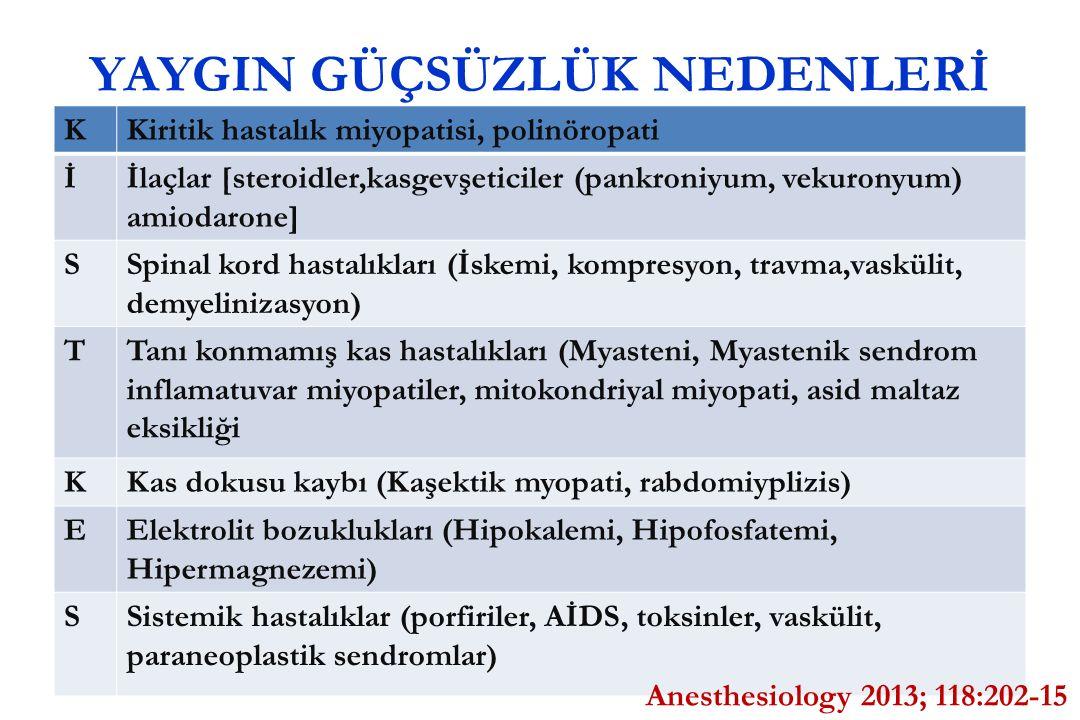 YAYGIN GÜÇSÜZLÜK NEDENLERİ KKiritik hastalık miyopatisi, polinöropati İİlaçlar [steroidler,kasgevşeticiler (pankroniyum, vekuronyum) amiodarone] SSpin