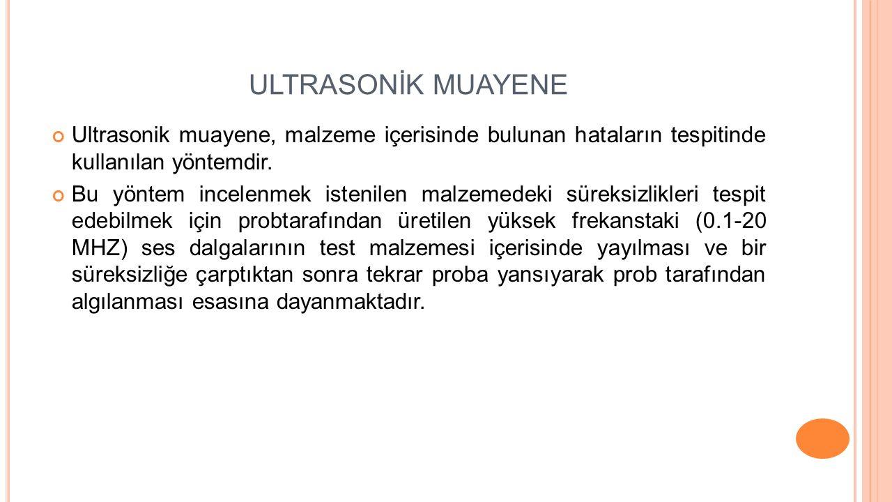ULTRASONİK MUAYENE Ultrasonik muayene, malzeme içerisinde bulunan hataların tespitinde kullanılan yöntemdir. Bu yöntem incelenmek istenilen malzemedek