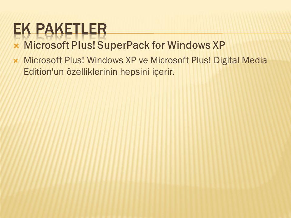  Microsoft Plus. Digital Media Edition  Dijital media resim ve video uygulamaları sunulmuştur.