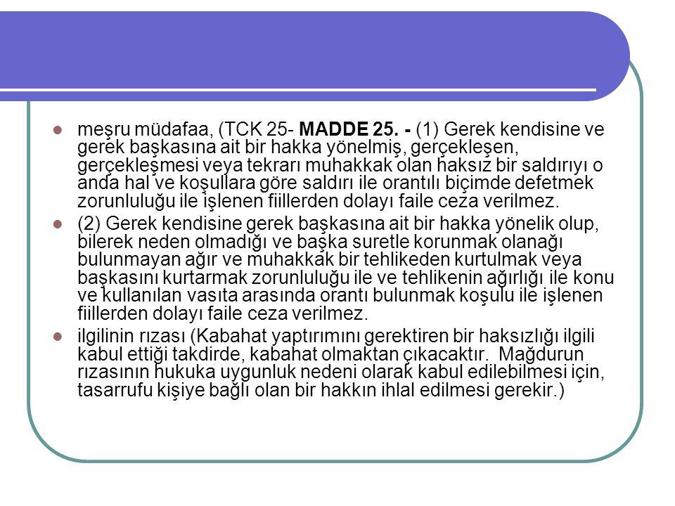 meşru müdafaa, (TCK 25- MADDE 25.