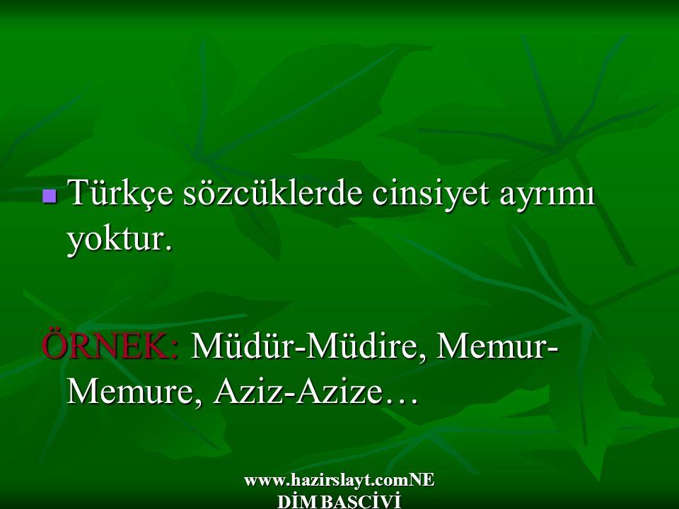 www.hazirslayt.comNE DİM BAŞÇİVİ Türkçe sözcüklerde cinsiyet ayrımı yoktur. Türkçe sözcüklerde cinsiyet ayrımı yoktur. ÖRNEK: Müdür-Müdire, Memur- Mem