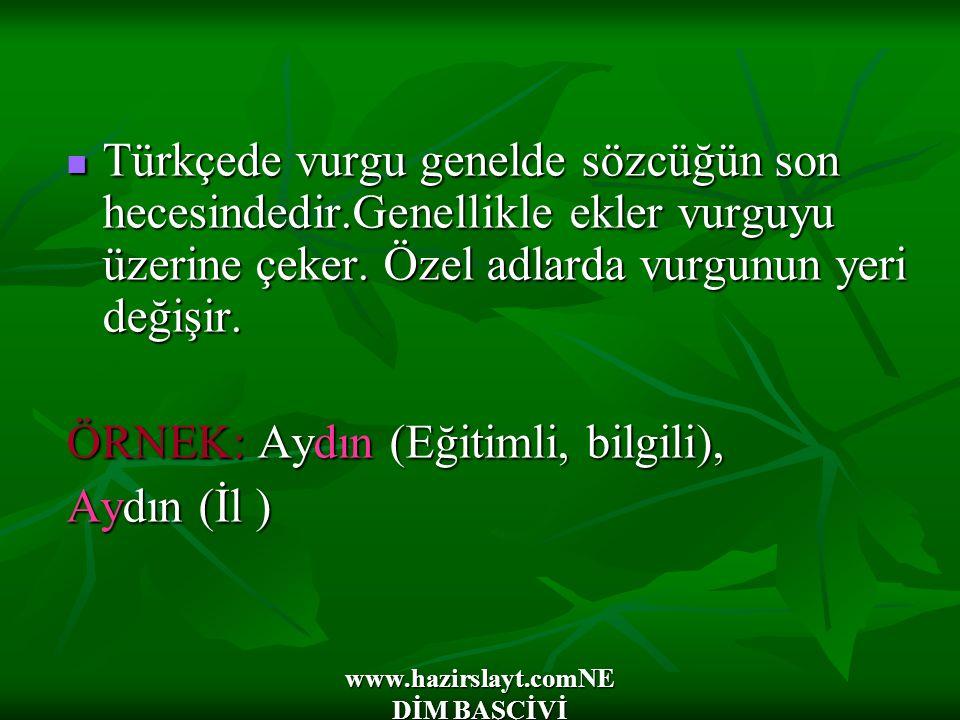 www.hazirslayt.comNE DİM BAŞÇİVİ Türkçede vurgu genelde sözcüğün son hecesindedir.Genellikle ekler vurguyu üzerine çeker. Özel adlarda vurgunun yeri d