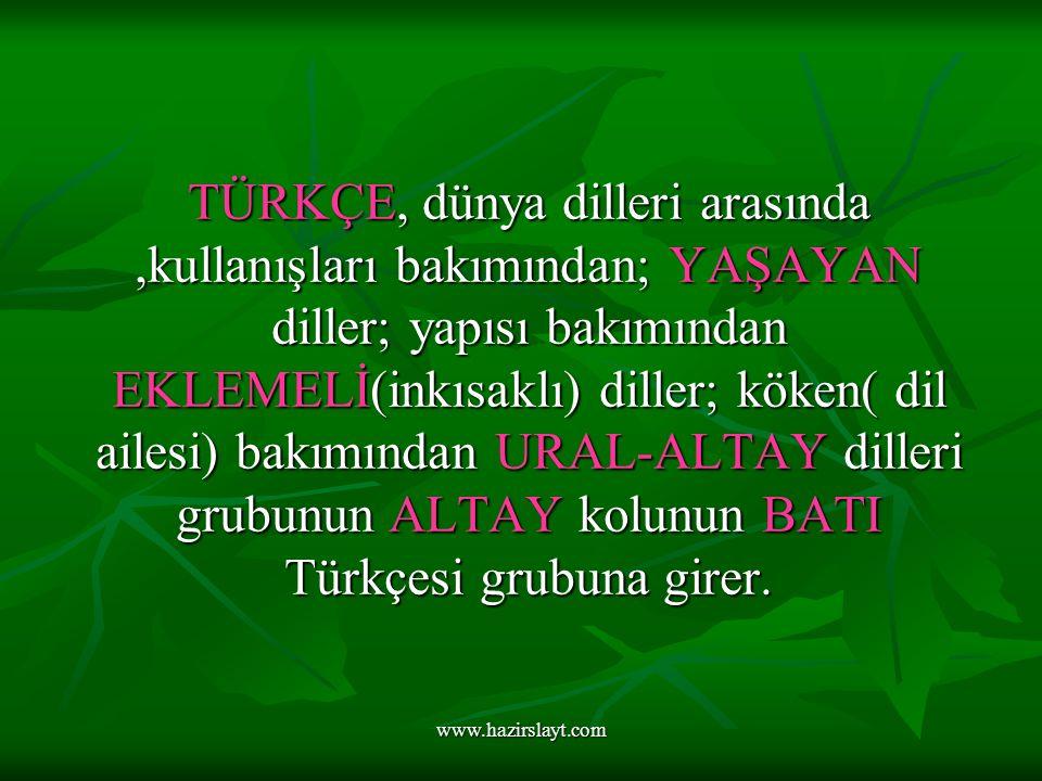 www.hazirslayt.com TÜRKÇE, dünya dilleri arasında,kullanışları bakımından; YAŞAYAN diller; yapısı bakımından EKLEMELİ(inkısaklı) diller; köken( dil ailesi) bakımından URAL-ALTAY dilleri grubunun ALTAY kolunun BATI Türkçesi grubuna girer.